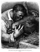 Sancho Panza y rucio de Gustavo Doré